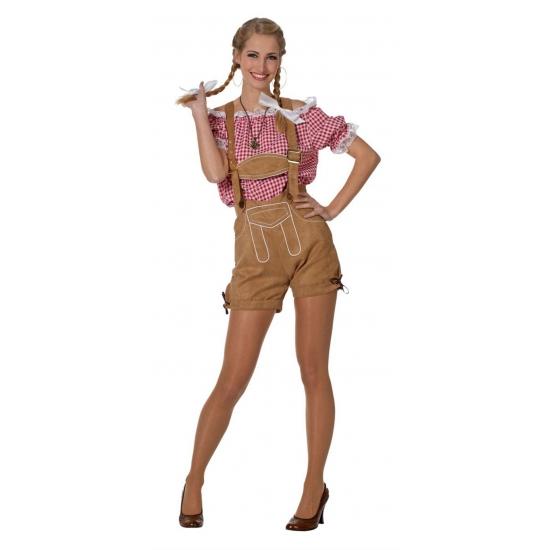 Verkleedkleding Tiroler blouse voor dames rood/wit