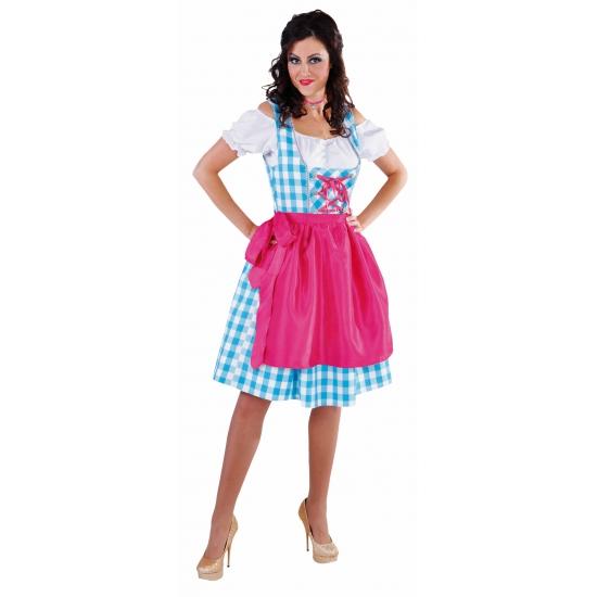 Verkleedkleding tiroler jurk blauw dames
