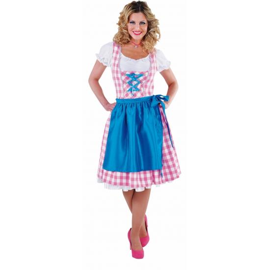Verkleedkleding Tiroler jurk roze dames