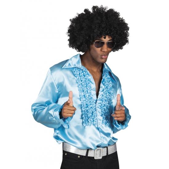 Verkleedkleding turquoise rouche overhemd