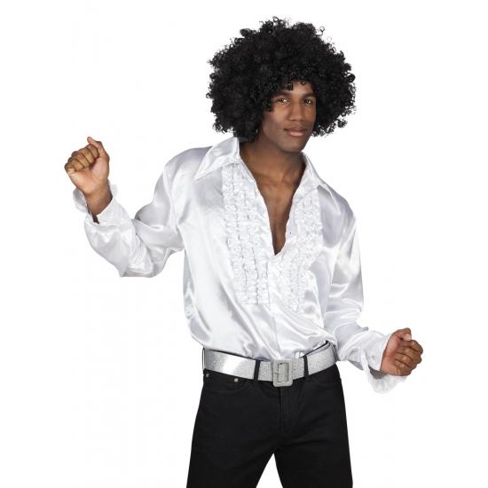Verkleedkleding wit rouche overhemd