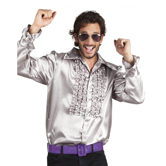 Verkleedkleding zilver rouche overhemd