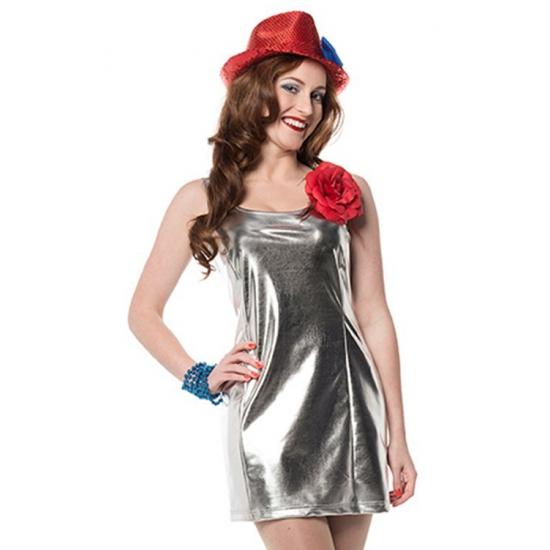 Verkleedkleding Zilveren disco stretch jurkje