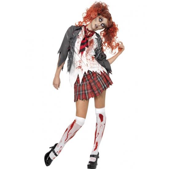 Verkleedkleding Zombie schoolmeisje kostuum