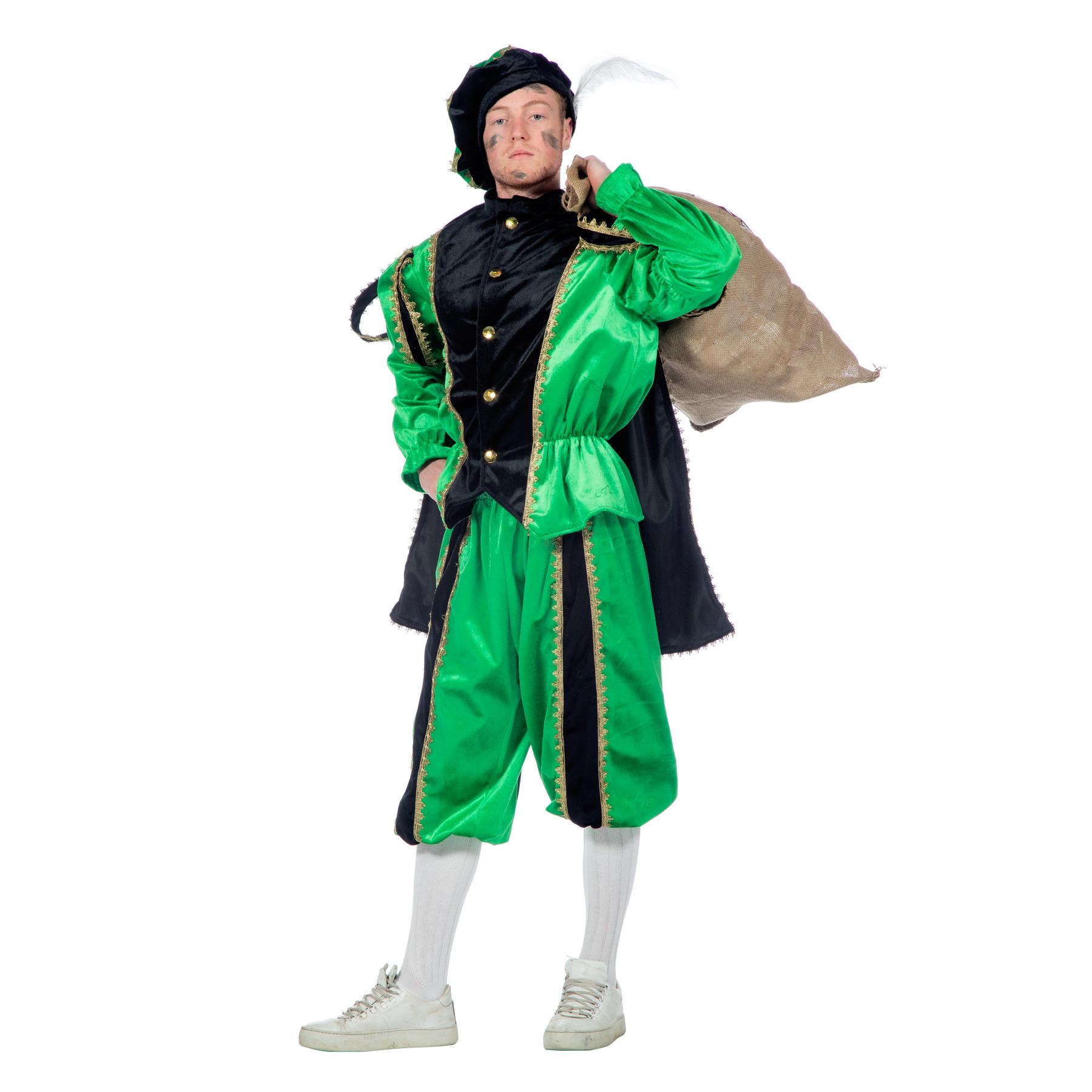 Merkloos Verkleedkleding zwart/groen pieten kostuum fluweel