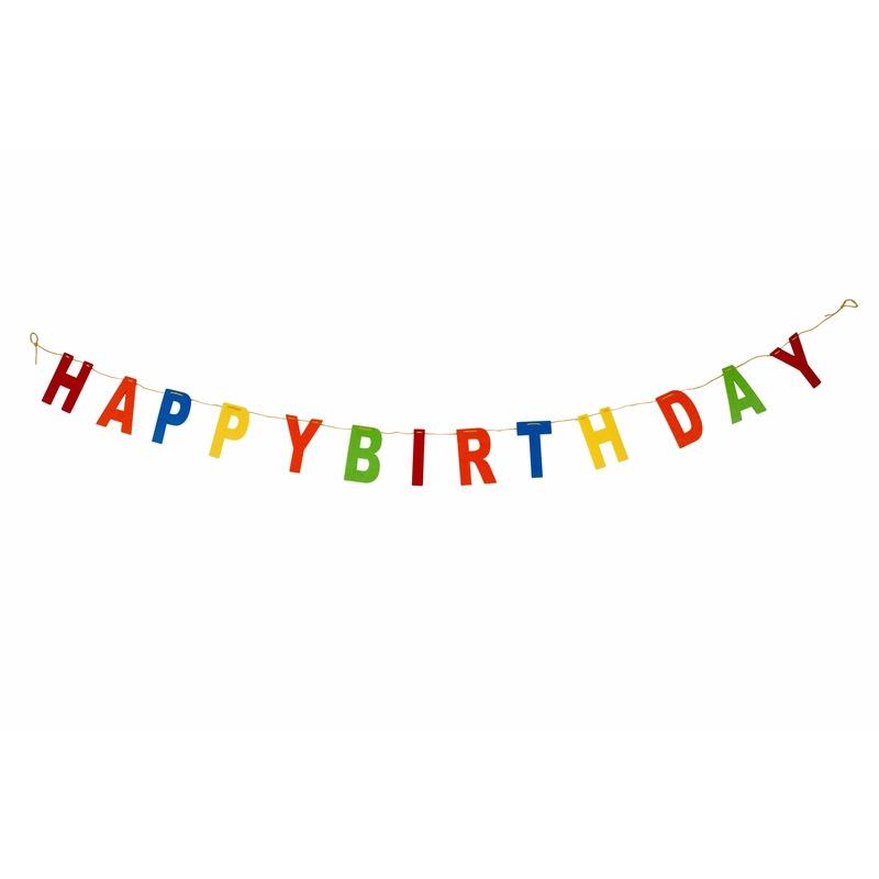 Vilten vlaggenlijn happy birthday