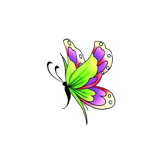 Vlinder glitter tattoo groen/paars