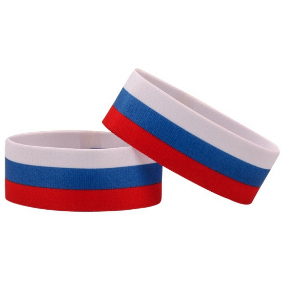Voetbal armband wit blauw rood