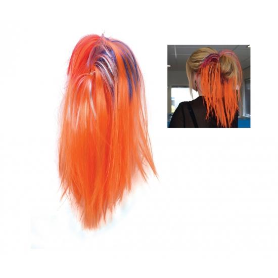 Voetbal fan oranje haarextensie knot