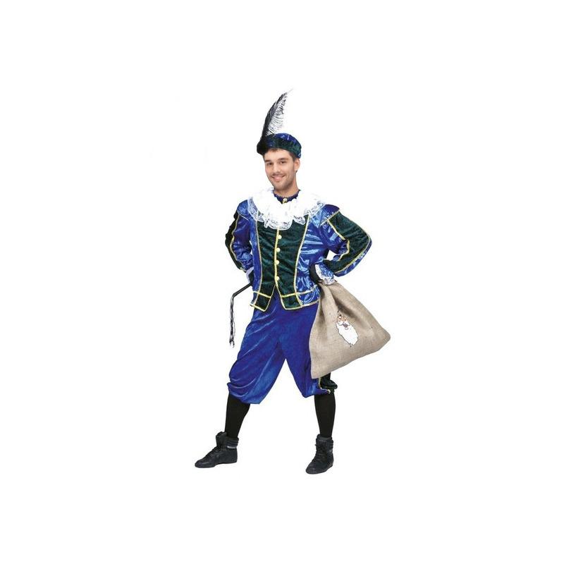 Merkloos Voordelig roetveeg Pieten kostuum blauw/groen unisex