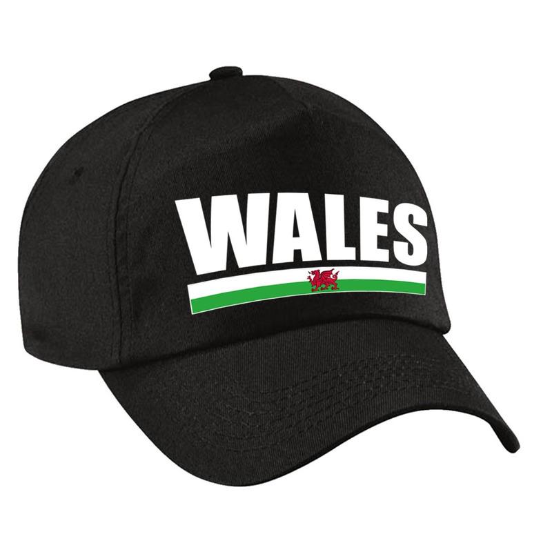 Wales supporter pet - cap Verenigd Koninkrijk zwart kinderen