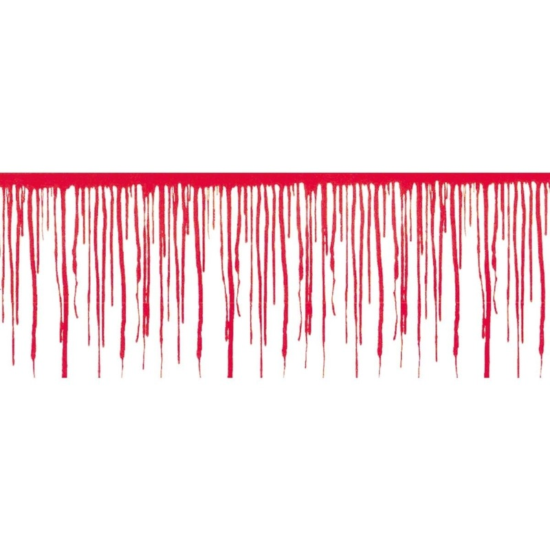 Wanddecoratie druipend bloed 610 x 30 cm Horror/Halloween