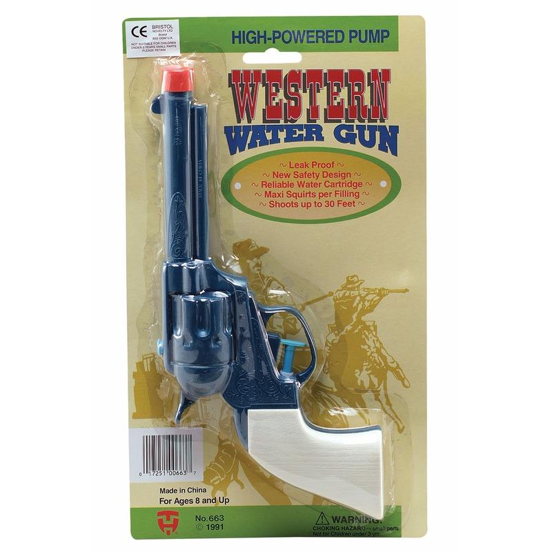 Waterpistolen blauw met wit gekleurd