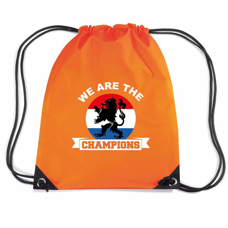 We are the champions voetbal rugzakje - sporttas met rijgkoord oranje