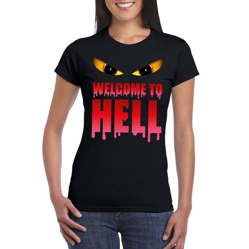Bellatio Decorations Welcome to hell Halloween Duivel t-shirt zwart dames