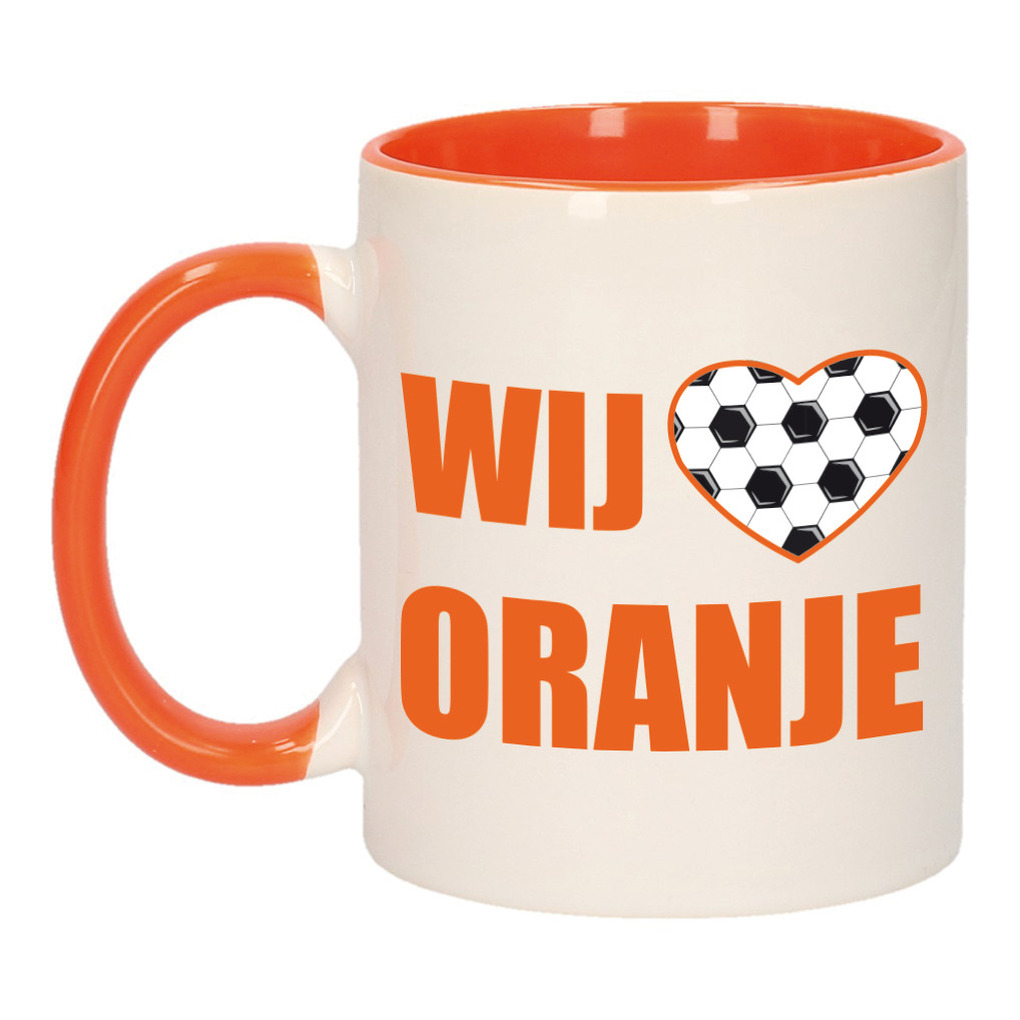 Wij houden van oranje mok/ beker oranje wit 300 ml
