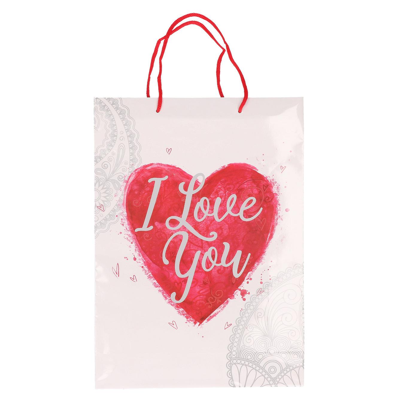 Wit cadeautasje love you 34 x 25 cm