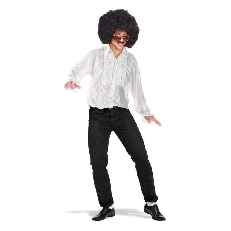Wit disco verkleed shirt met rouches