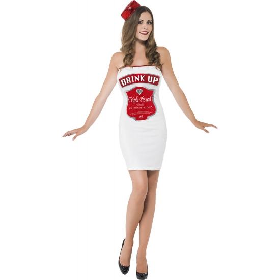 Wit met rood kostuum drink up dames