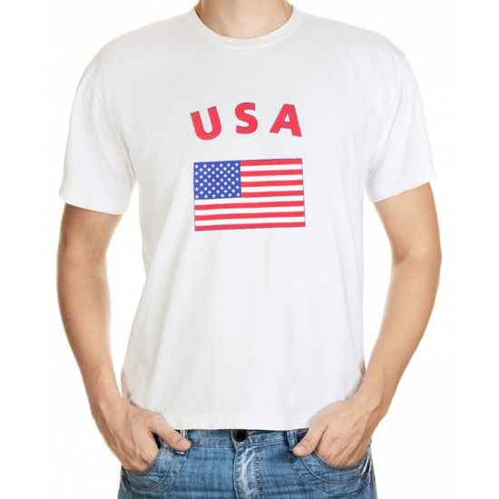 Wit t-shirt USA volwassenen