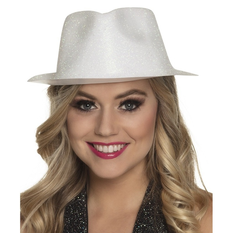 Merkloos Wit trilby hoedje met glitters voor dames