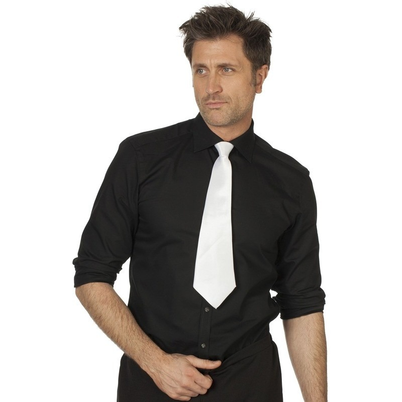 Witte gangster stropdas 41 cm verkleedaccessoire dames/heren