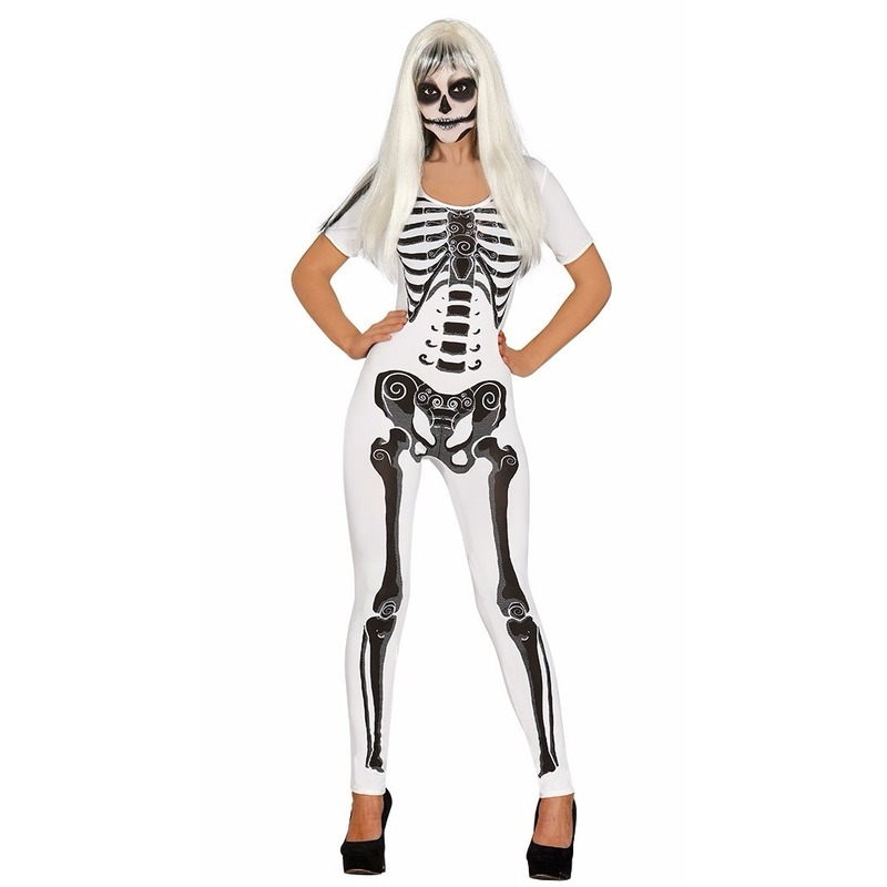 Witte skelet catsuit kostuum voor dames