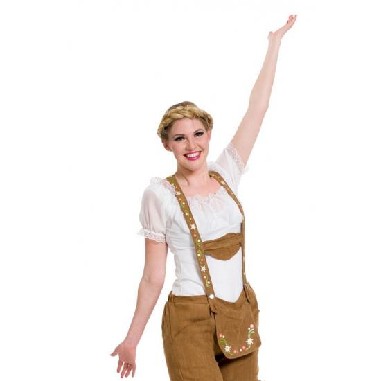 Witte Tiroler blouse verkleed kostuum/top voor dames