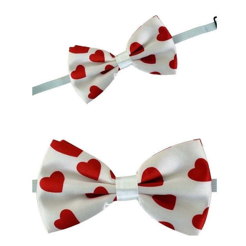 Witte vlinderstrik met rode hartjes 13 cm voor dames/heren