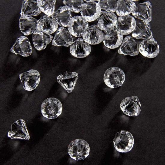 Zakje van 27 gram deco Diamantjes transparant 12 mm
