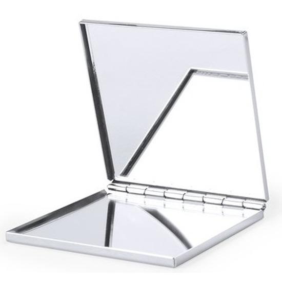 Zakspiegel/make-up spiegel zilver vierkant 6 cm