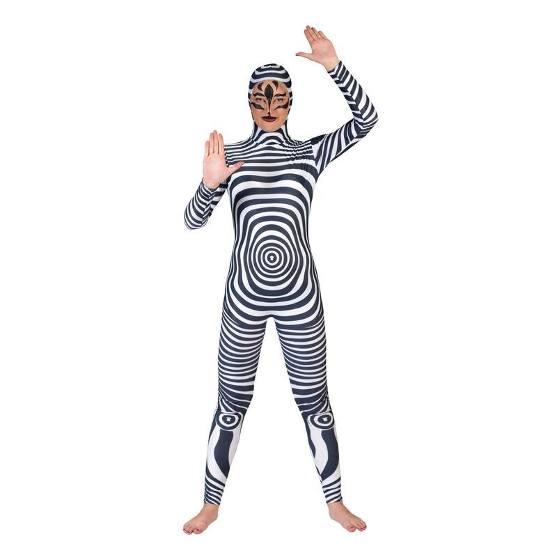 Zebra catsuit/second skin voor volwassenen