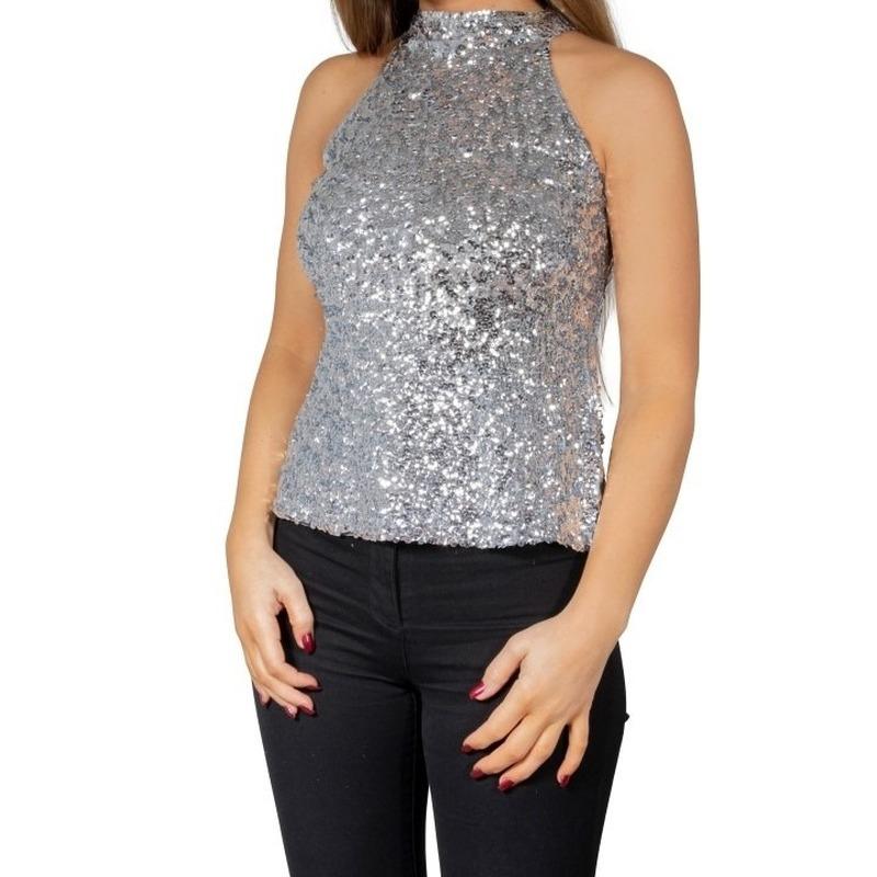 Zilveren glitter pailletten disco halter topje/ shirt dames
