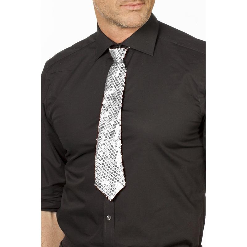 Zilveren glitter stropdas 32 cm verkleedaccessoire dames/heren
