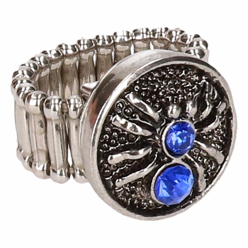 Zilveren heksen ring blauw voor volwassenen