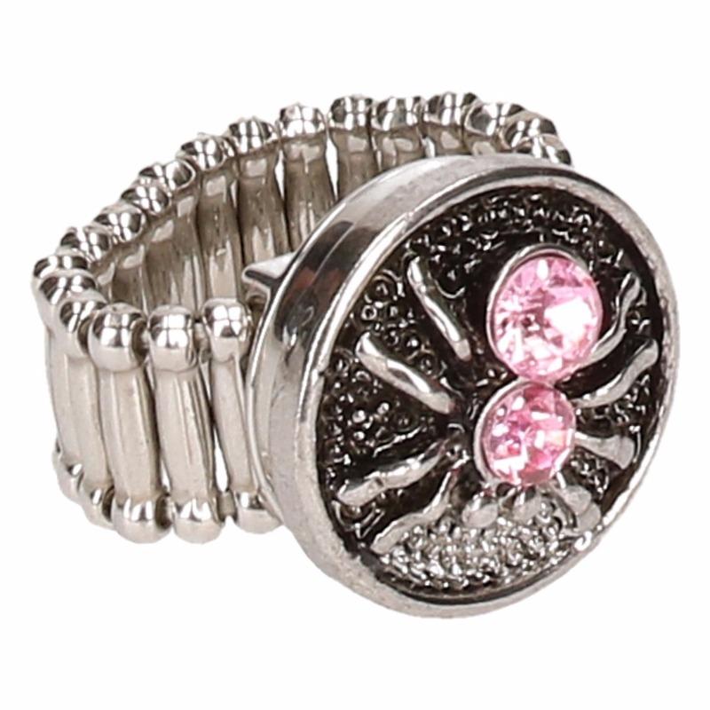 Zilveren heksen ring roze voor volwassenen