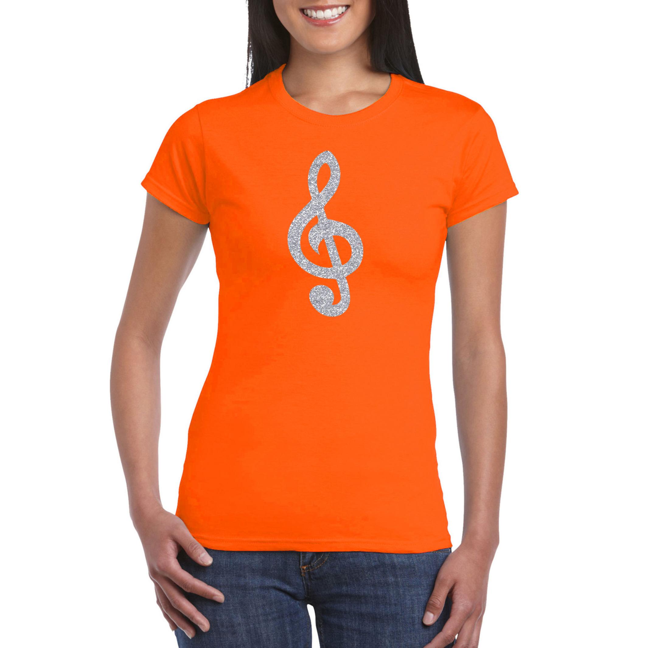 Zilveren muzieknoot G-sleutel - muziek feest t-shirt - kleding oranje dames