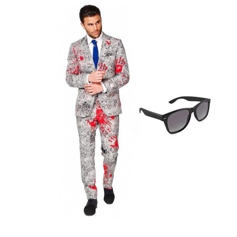 Zombie heren kostuum maat 52 (XL) met gratis zonnebril