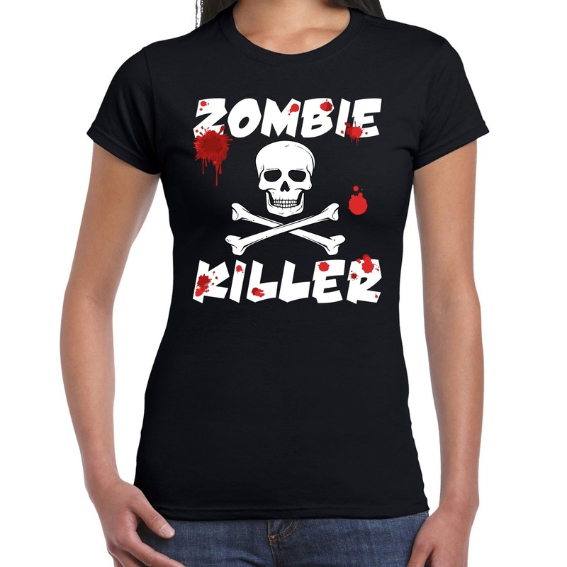 Bellatio Decorations Zombie killer Halloween t-shirt zwart dames