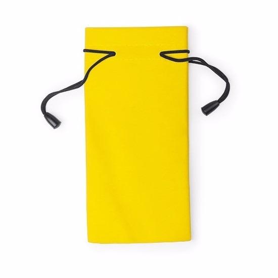 Zonnebrillen etui van stof geel 18 cm