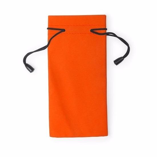 Zonnebrillen etui van stof oranje 18 cm