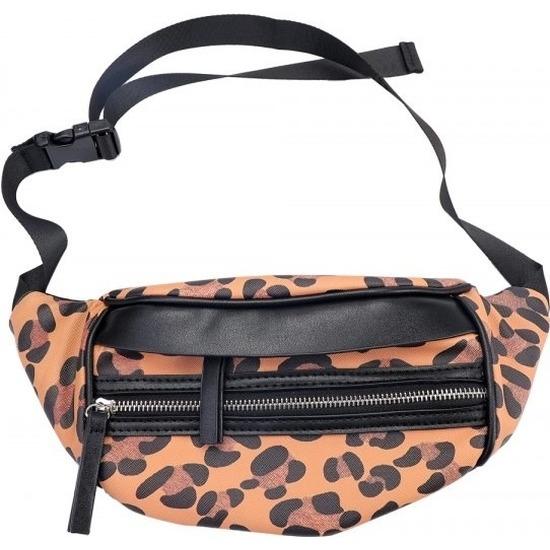 Zwart/bruin luipaardprint heuptasje/buideltasje 30 cm