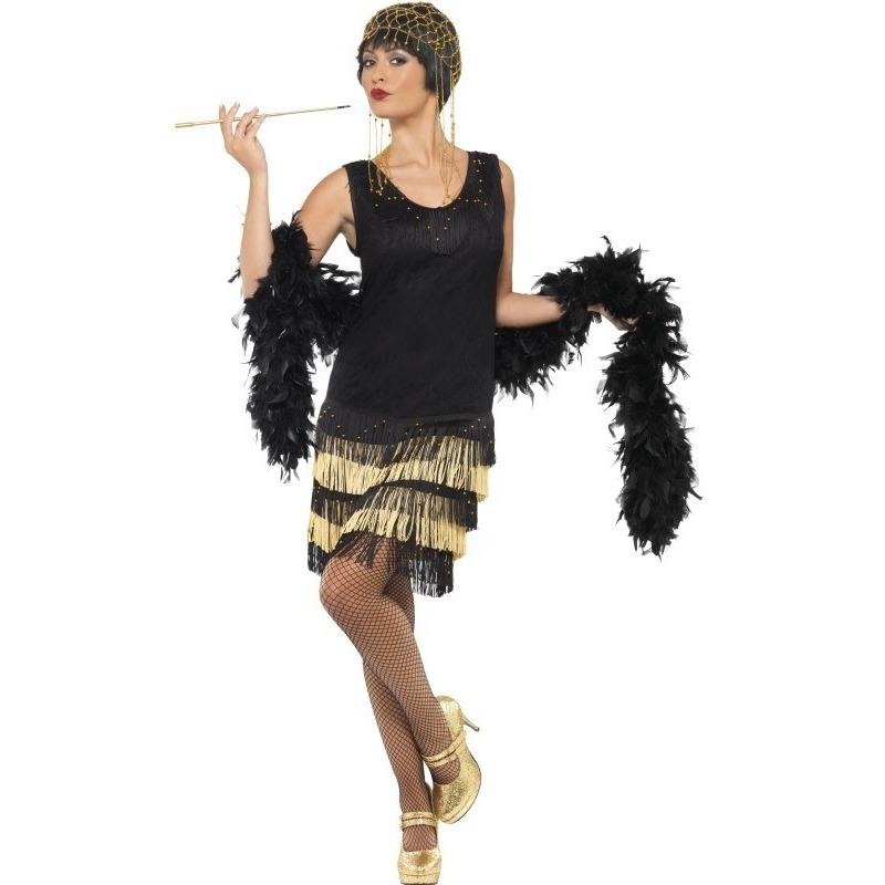 Zwart/gouden jaren 20 flapper jurk voor dames