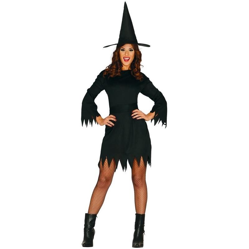 Merkloos Zwart heksen kostuum budget voor dames