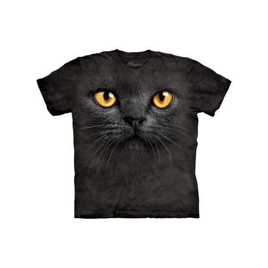 Zwart katten T-shirt met gele ogen voor kinderen