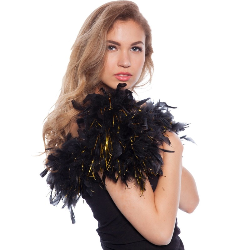 Zwart met gouden tinsels verkleed boa 180 cm