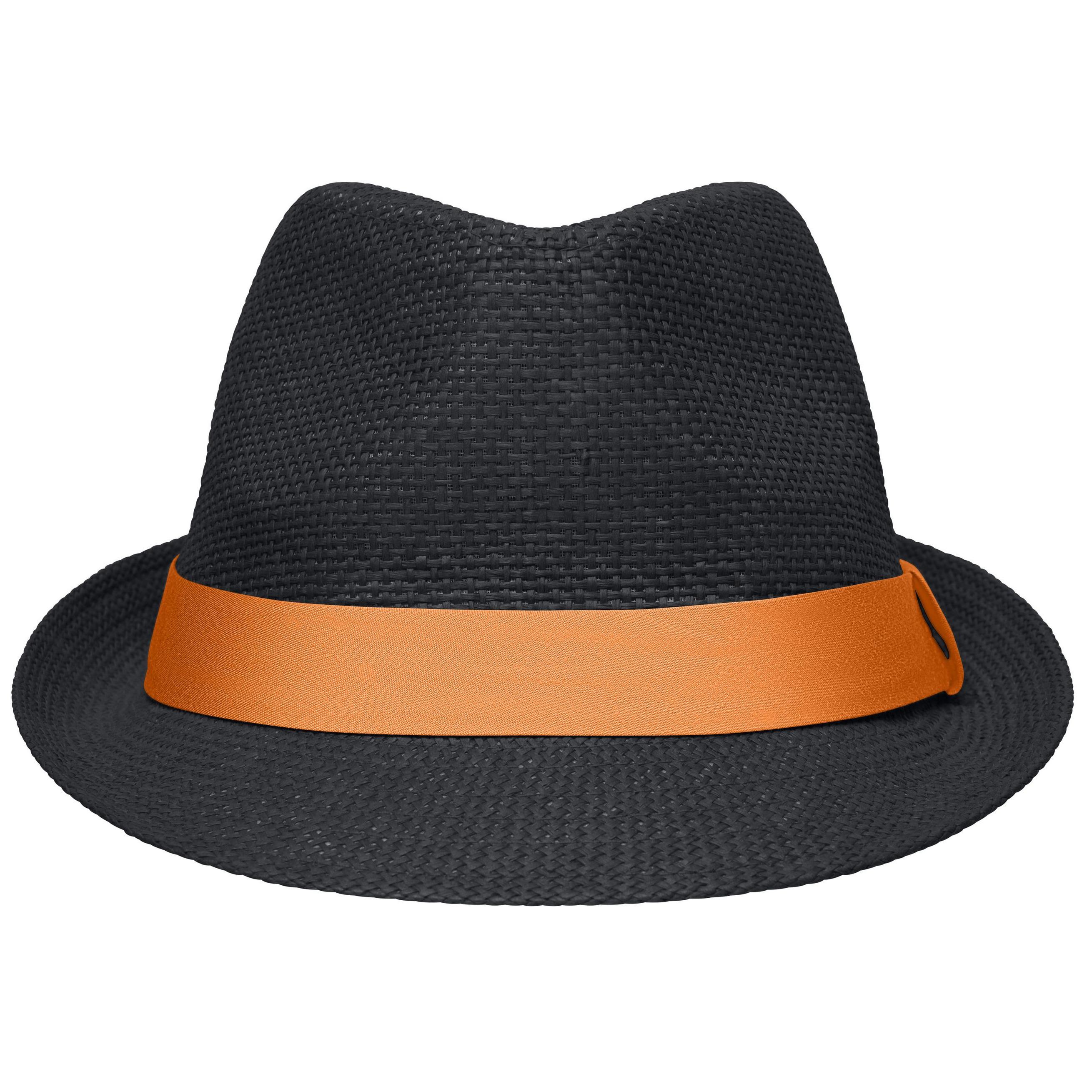 Zwart met oranje trilby hoedje