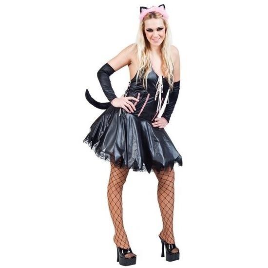 Zwart met roze verkleedset kat/poes dames