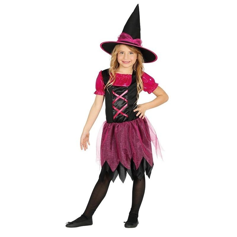 Merkloos Zwart/roze heksen kostuum voor meisjes