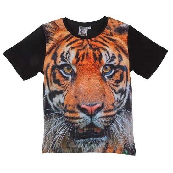 Zwart t-shirt met tijger voor kinderen